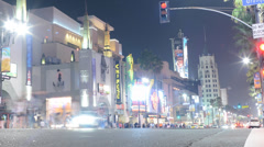 Hollywood Night Time Lapse -Intersection- Long Shot - stock footage