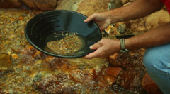 Gold panning prospector prospect 2 Stock Footage