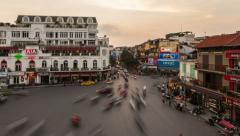 4k - HANOI SUNSET TIMELAPSE - HOAN KIEM DISTRICT - stock footage