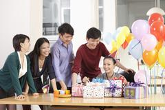 Stock Photo of Business People Having Party in Office