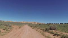 Drive desert road San Rafael Swell Utah POV 0063 Stock Footage