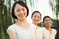 Three Young Women - Portrait - stock photo