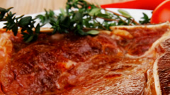 Savory : grilled spare rib on white dish with pepper and tomato Stock Footage