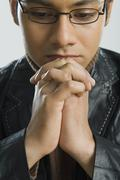 Close-up of a man thinking Stock Photos