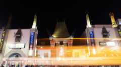 Hollywood Night Time Lapse -Chinese Theater- Tilt Down - stock footage