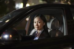 Mature Businesswoman Driving Car Stock Photos