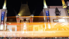 Hollywood Night Time Lapse -Chinese Theater- Pan Left - stock footage