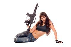 armed girl posing - stock photo