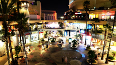 Hollywood Night Time Lapse -Shopping Mall- Tilt Down Stock Footage