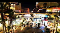 Hollywood Night Time Lapse -Shopping Mall- Zoom In - stock footage