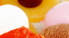 Fruits mixed with ice cream Stock Footage