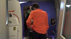 Passenger entering Aircraft Stock Footage