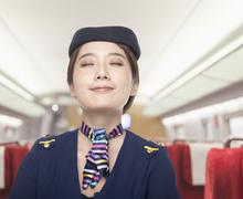 Portrait of Air Stewardess, Eyes Closed Stock Photos