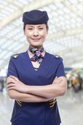 Portrait of air stewardess Stock Photos