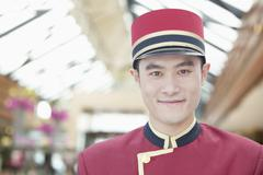 Portrait of Bellhop, Close-Up - stock photo