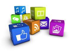 website and social media cubes - stock illustration