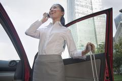 Young Businesswoman outside of her car talking on the phone Stock Photos