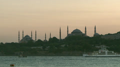 Istanbul  silhouette in sunset Stock Footage
