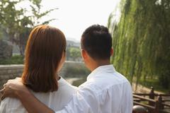Young Couple Looking Downstream Stock Photos