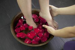 Woman's Feet Soaking in Water with Rose Petals Stock Photos