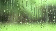 Summer Rain on Window with Lush Background Stock Footage