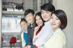 Portrait of Five Business People in Creative Office - stock photo