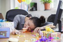 Female Asleep After Party at Office - stock photo