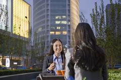 Two Businesswomen Eating Dinner Stock Photos