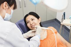 Mid Adult Woman At Dentist Stock Photos