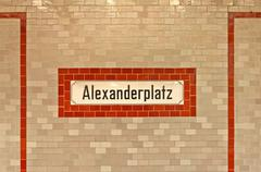Alexanderplatz sign at U-ban station in Berlin - stock photo