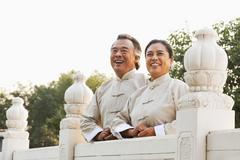 Two senior Taijiquan practitioners in Beijing - stock photo