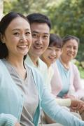 Multi generational family portrait, outdoors Beijing - stock photo