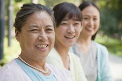 Three generation female family portrait, outdoors Beijing - stock photo