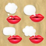 red lips set with speech bubbles - stock illustration