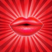 red lips with sunburst - stock illustration