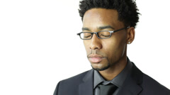 Black man isolated on white Stock Footage
