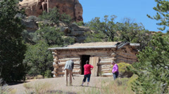 Historic Swasey Cabin San Rafael Swell desert Utah tourists HD 9887 Stock Footage