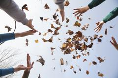 Group of young people throwing leaves - stock photo