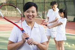 Tennis coach, portrait - stock photo