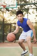 Street basketball player on the court, portrait Stock Photos