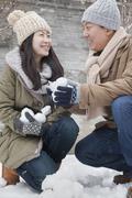 Pari tilalla lumipalloja puistossa Kuvituskuvat