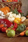 organic fresh vegetables from the garden. - stock photo