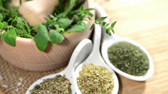 Rotating fresh Herbs - stock footage