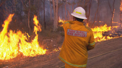 Rural Fire Service back burns during Sydney bush fire PT4 Stock Footage