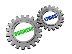 business ethics in silver grey gears - stock illustration