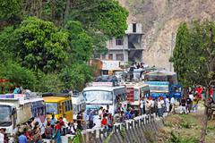 Sallaghari, nepal - april 4: traffic jam on araniko highway on april 4, 2009  Stock Photos