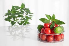 Fresh vegetables and herbs - stock photo
