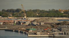Venice construction site, Lido lagoon inlet, dolly shot medium shot, Stock Footage