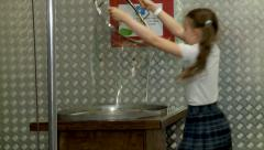 "Little girl makes a big soap bubble. Moscow Museum of Science ""Experimentanium"". Stock Footage"