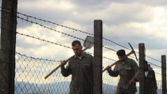 Prisoners Silhouette Stock Footage